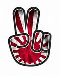 Hippy Style PEACE Hand With JDM Style Rising Sun Flag Motif External Vinyl Car Sticker 90x65mm